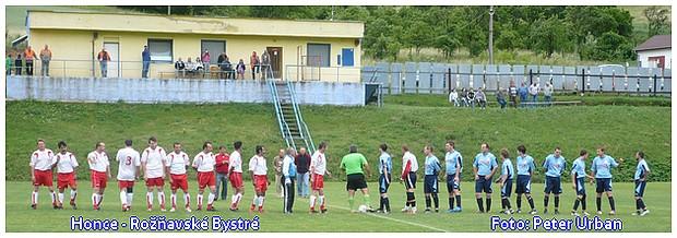 Zo zápasu posledného kola II. triedy majstrovstva okresu v ročníku 2008/2009 Honce - Rožňavské Bystré 9:1 (3:0). Foto: P. Urban